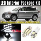 15Pcs LED Lights Interior White Dome Map Lamp Kit for Toyota RAV4 2006-2012 (7xT10-5-5050+8x31MM-12-3528)
