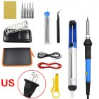 15Pcs Soldering Iron Kit Electronics 60W Adjustable Temperature Welding Tool 110V US Plug 15-piece set
