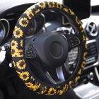 15inch Car Steering Wheel Cover PU Leather Sunflower Universal Car Accessory for Women