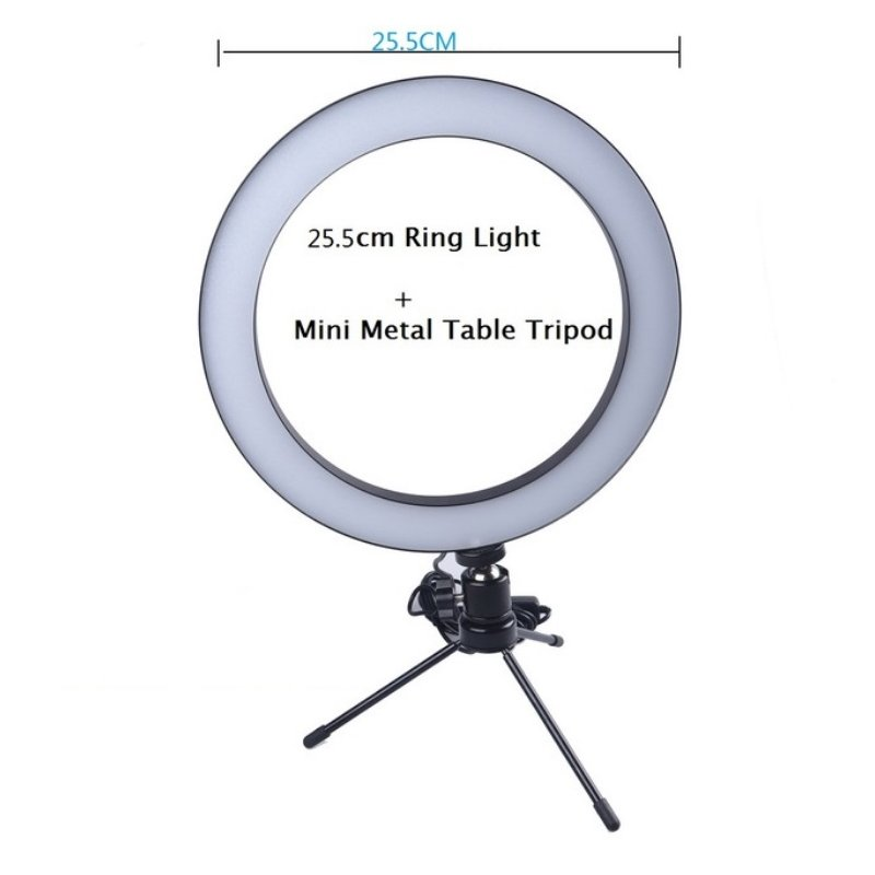16/26cm Dimmable LED Studio Camera Ring Light Phone Video Light Lamp Selfie Stick Ring Table Fill Light 26CM single lamp + tripod