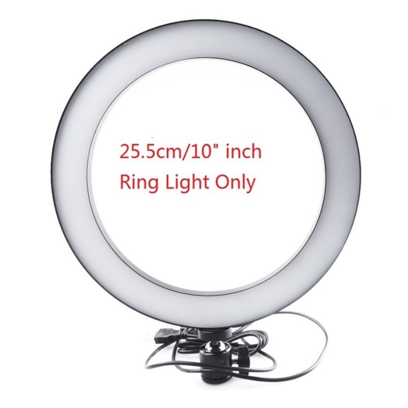 16/26cm Dimmable LED Studio Camera Ring Light Phone Video Light Lamp Selfie Stick Ring Table Fill Light Single lamp 26CM