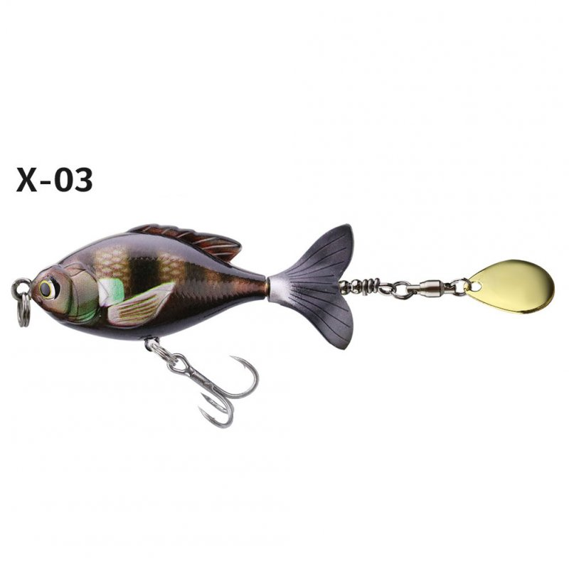 16.5G/6CM Rotate Tail Popper Lure Topwater Wobble Fishing Lures Bait Bass Fishing Tackle X-03# color OPP bag