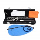 16-Hole Concert Flute Set C Key Woodwind Instrument with Gloves Mini Screwdriver Padded Case black