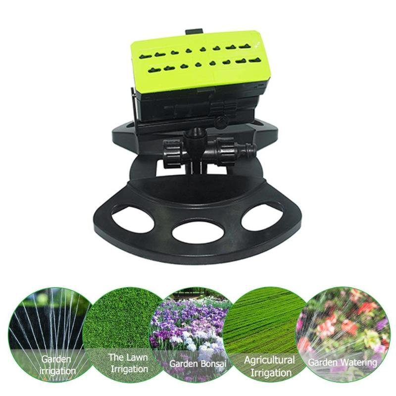 16 Hole Lawn Sprinkler Water Spray Nozzle Watering Irrigation Automatic Swinging Garden Sprinkler Garden Tools Black+green