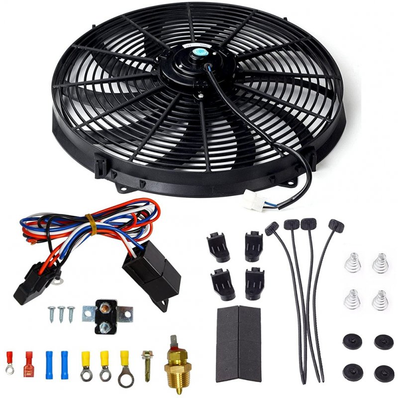 16 Inch Electric Radiator Cooling Fan Mounting Kit 175-185 Degree Thermostat Relay Switch Kit