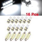 16Pcs White LED(5x41mm-8-5050 + 11xT10-5-5050) Dome Map Door Step Trunk Light Interior Package Kit for Ford Expedition