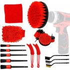 16pcs Plastic Car Electric Brush Car Detail Brush Cleaning Brush Set Car Cleaning Tool Red