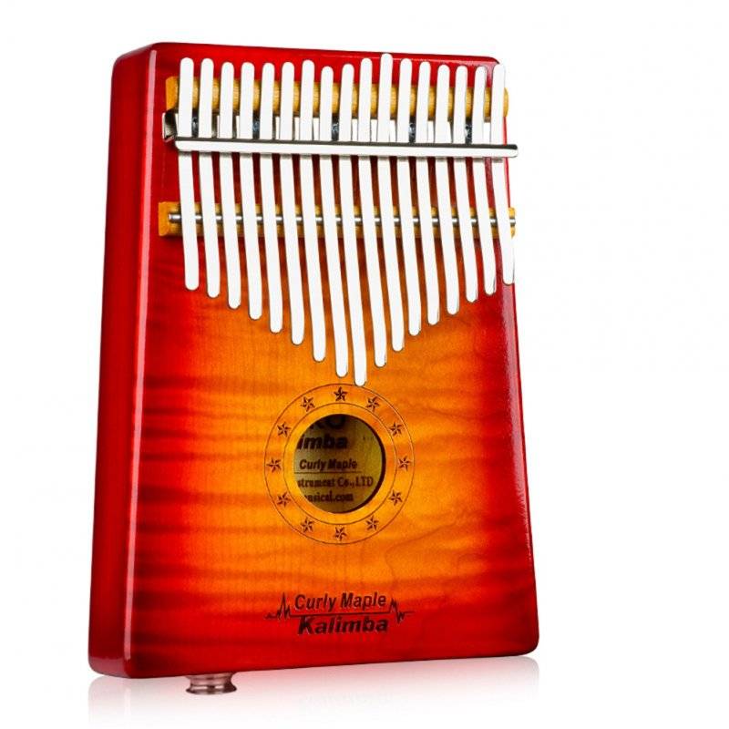 17 Key Wooden Thumb Piano Kalimba with EQ Tiger Pattern Maple Music Instrument Toy Gift sunset color