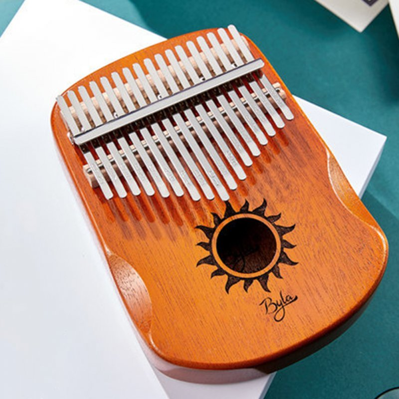 17 Keys EQ Kalimba Sun Pattern Mahogany Thumb Piano Classic Musical Instrument Wood Keyboard With Arc Hand Guards Natural Kalimba