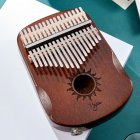 17 Keys EQ Kalimba Sun Pattern Mahogany Thumb Piano Classic Musical Instrument Wood Keyboard With Arc Hand Guards Retro EQ Kalimba