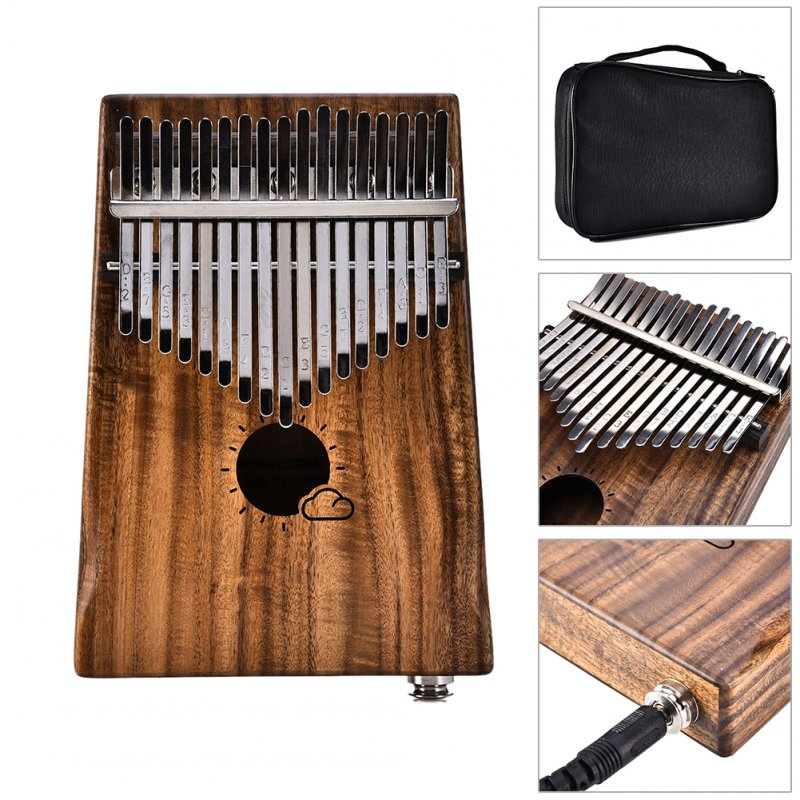 17 Keys EQ Kalimba Thumb Piano Link Speaker Electric Pickup Music Craft Gift(Sun Cloud) MS17AEQ