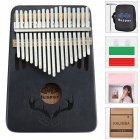 17 Keys Kalimba Portable Thumb Piano Mahogany with Padded Bag Tuner Hammer Musical Instruments black