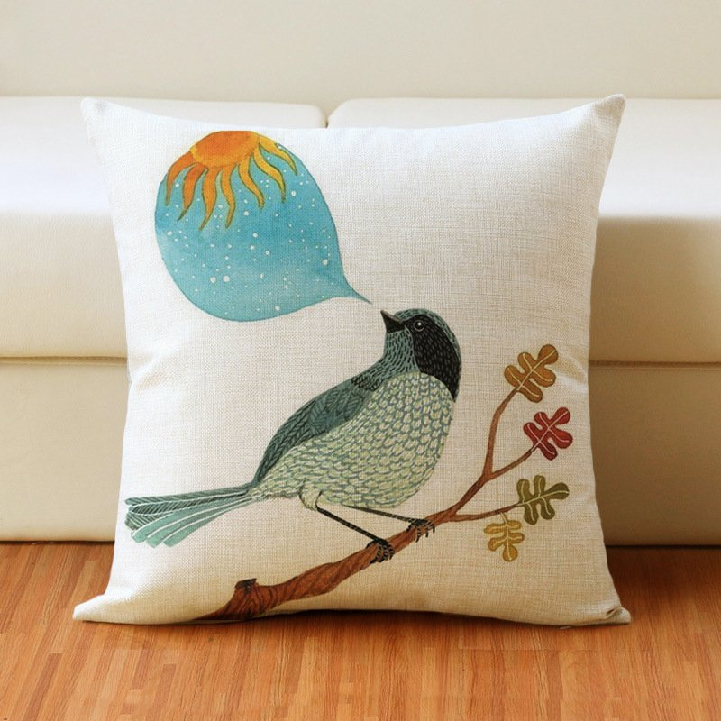 17 inch Bird Print Cushion Cover Cotton Linen Pillow Case Home Bedding Sofa Decoration 44 * 44cm_#1