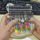 17 key Kalimba Acrylic Thumb Piano 17 Keys Mbira Transparent Keyboard Instrument Transparent_Color light bear