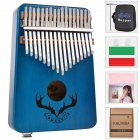 17 keys EQ kalimba Mahogany Thumb Piano Kalimba Finger Piano with Electric Pickup Tuner Hammer Beginner Music Learning blue
