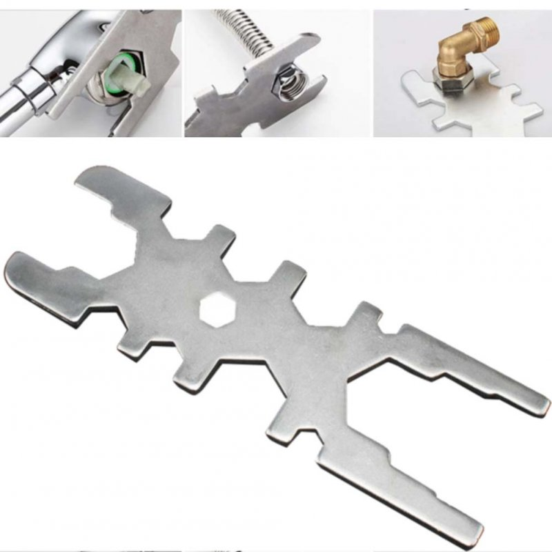 18-in-1 Faucet Wrench Stainless Steel Kitchen Tap Spool Nut Gland Maintenance Tool Silver