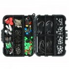 188PCS Fishing Accessories Kit Gadget Set Sea Fishing Rock Fishing Set Box Swivel Crank Hook Plumb Fishing Accessories Set black