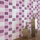 18Pcs Anti oil Pink Mosaic Self Adhesive Tile Wall Sticker for Kitchen Bathroom Decor FX2717