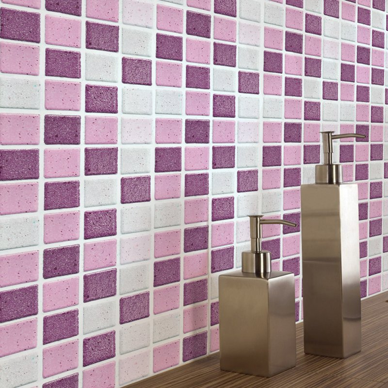 18Pcs Anti-oil Pink Mosaic Self Adhesive Tile Wall Sticker for Kitchen Bathroom Decor FX2717