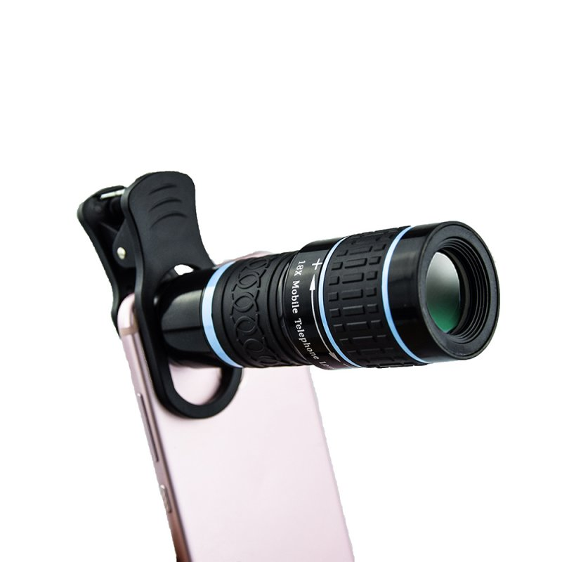 18x Telephoto Lens Phone Camera Lens 6.2 Degree Wide Angle Lens for iPhone Samsung  Blue standard