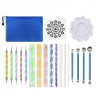 19Pcs Clay Tool Modeling Indentation Ball Pen Acrylic Rods Clay Sculpting Tool Set with Plastic Palette default