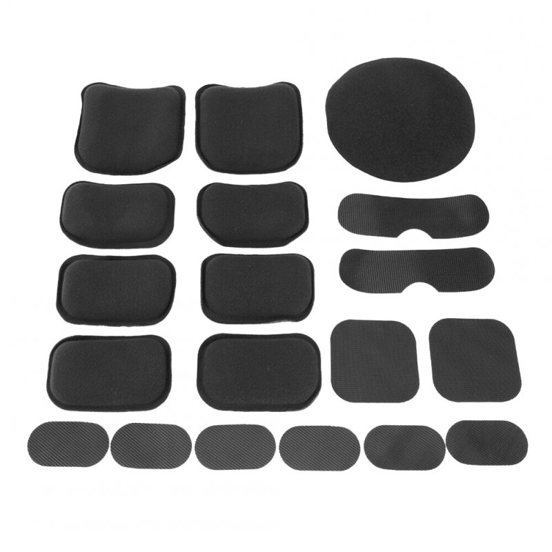 19pcs/Set Detachable EVA Mat Breathable Pad with Nylon Fastener Tape for Outdoor War Game Adult Helmet Black