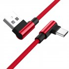 1M Type C 90 Degree Charging Cable red