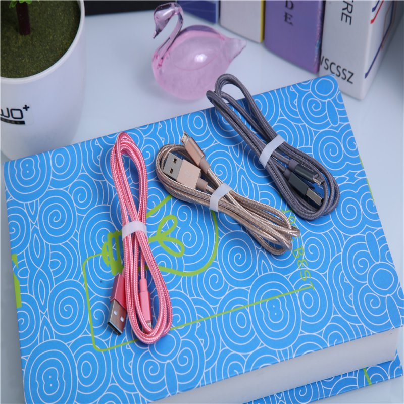 1M Weaving Micro USB Cable Fast Charging USB Data Cables for Android Mobile Phone Cable Random Color