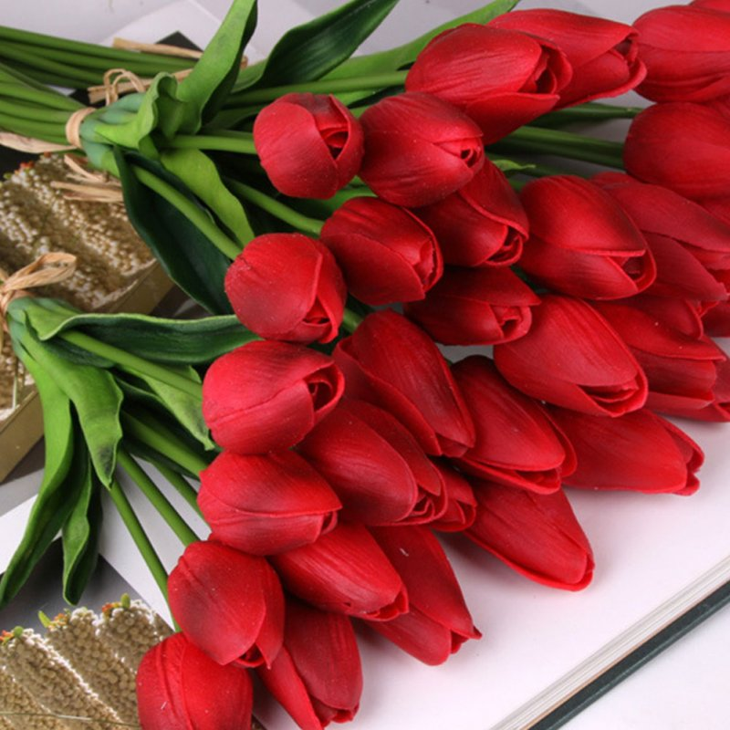 1PC Artificial Mini PU Tulip Flower for Home Living Room Wedding Decoration Red