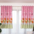 1PC Butterflies Sunflower Printing Shedding Window Curtain for Bedroom Balcony Punching Style Pink_1 meter wide x 2 meters high