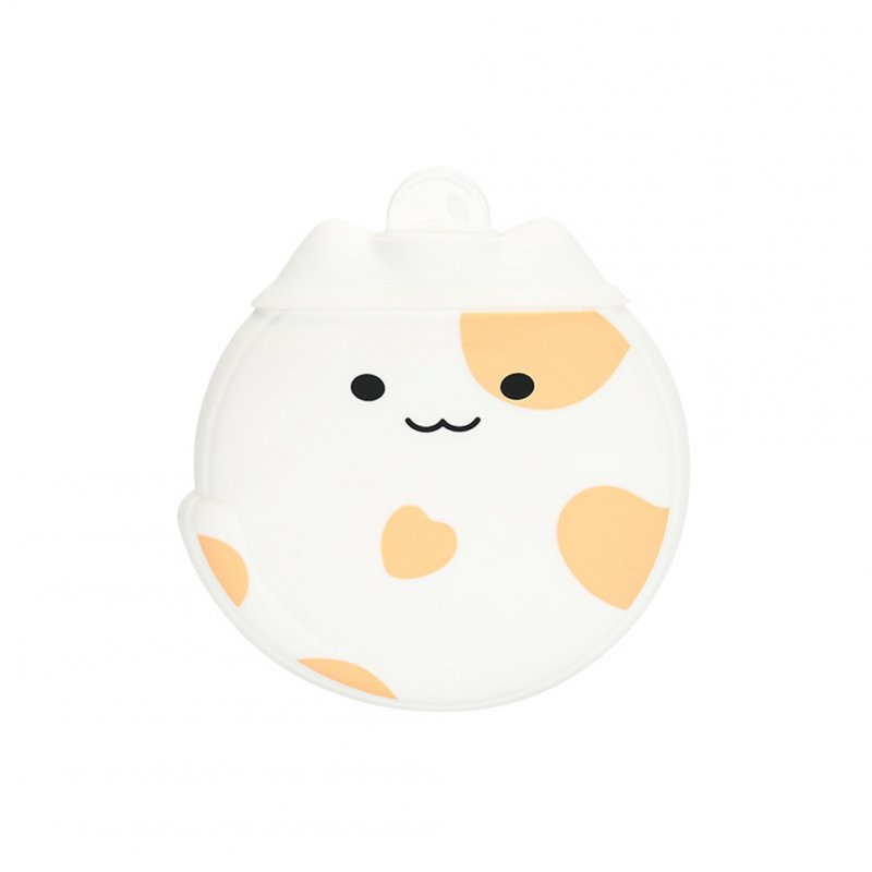 1PC Cute Shape Silicone Hot Water Bag Microwave Heating Hand Warmer Pearl White_15.3 * 14.3 * 4.7CM