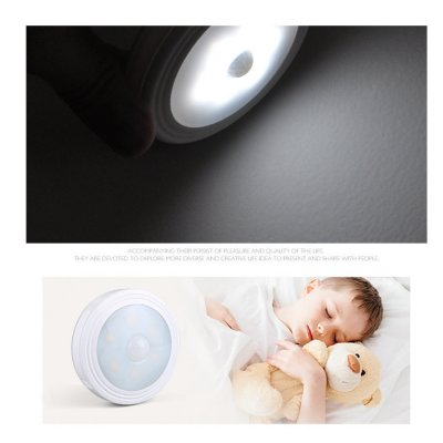 1PC Intelligent Round Shape Body Induction LED Night Light for Cabinet Toilet Lighting White light_Battery model (with magnet)