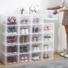 1PC Large Size Home Foldable Drawer Storage Box Transparent Dust Proof Shoes Box white 25x34x19cm
