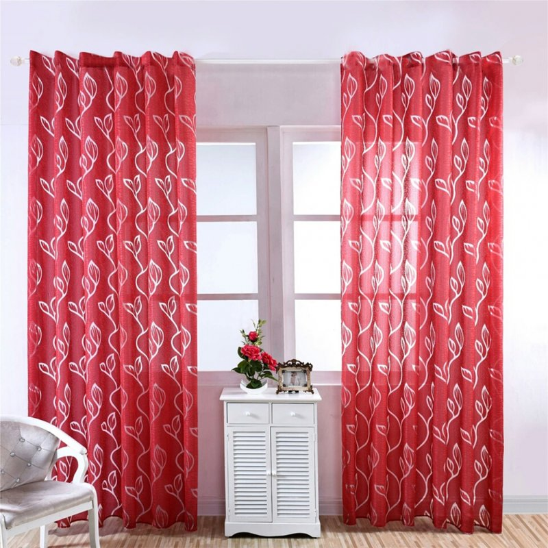 1PC Luxury Fashion Jacquard Leaf Semi-blackout Curtain Drape for Home Hotel Decoration  red_100X200CM rod Pocket