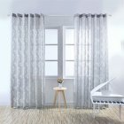 1PC Luxury Fashion Jacquard Leaf Semi blackout Curtain Drape for Home Hotel Decoration  gray 100X250CM drilling section