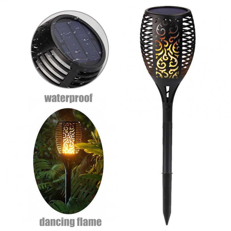 1PC Solar Powered Torch Shape Lawn Light for Outdoor Decoration Warm white light_(ME0002801)
