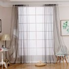 1PC Solid Color Curtain for Living Room Home Decoration gray_100X200CM