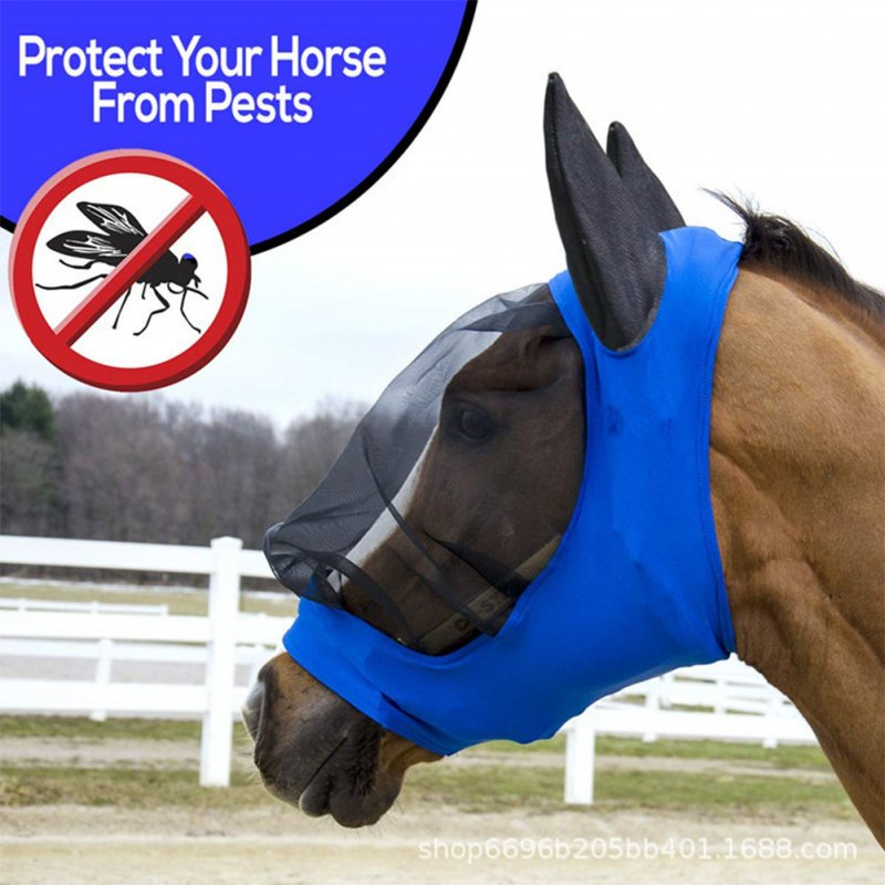 1PC Translucent Fine Mesh Horse Mask Summer Breathable Anti Mosquito Cover blue