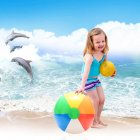 1PCS 20CM Rainbow-Color Beach Ball for Kids