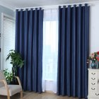 1PCS Cotton & Linen Blackout Curtain Solid Colour Drape for Home Hotel Decoration Navy blue (dark blue)_100 * 210cm