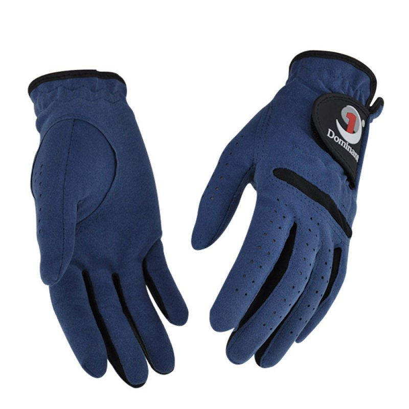 1Pair Women Golf Gloves Anti-slip Super fine cloth breathable Artificial suede For Left and Right Hand Navy blue_20