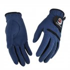 1Pair Women Golf Gloves Anti-slip Super fine cloth breathable Artificial suede For Left and Right Hand Navy blue_19