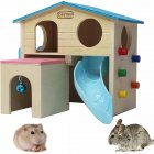 1Pcs Pet Small Animal Hamster House with Funny Climbing Ladder Slide Wooden Hut Toys for Hamster Mouse blue