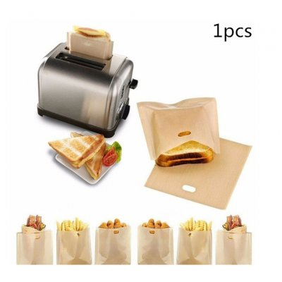 1Pcs Reusable Toaster Bag Heat Resistant Non-Stick Microwave Oven Bag for Sandwiches Toaster 16x16.5cm