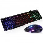 1Set 1Set T6 Rainbow LED Backlit Multimedia Ergonomic USB Wired Gaming Keyboard Wired Mouse and Mouse Pad black