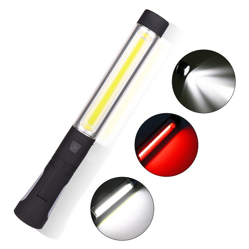 1W LED+COB LED USB Rechargeable Worklight for Emergency black_Model 2039