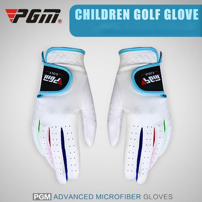 1pair Children Unisex Golf Gloves Breathable Left/Right Hand Anti-skid Glove White 17