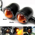 1pair Metal Motorcycle Turn Signal Lights Steering Lights black