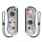1pair Wireless Bluetooth Game Handle Joy Cons Gaming Controller Gamepad For Nintend Switch NS Joycon Console with Wrist Strap Transparent white