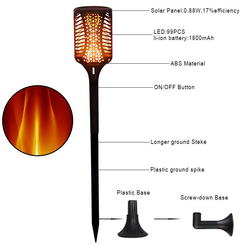 1pc Flame Lamp 99 LED Light Solar Power Wine Bottle Shape Yard Decor IP65 Waterproof with 3 Installation Modes warm light